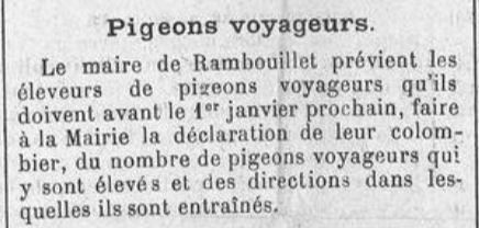 déclaration obligatoire des pigeons en 1898