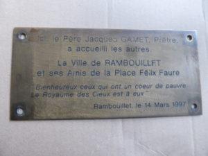 la plaque du banc du père Gamet