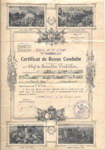 certificat de bonne conduite (coll Ch&M Painvin)